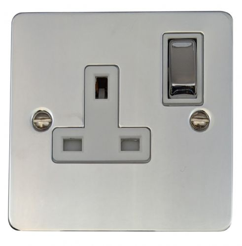 G&H FC209 Flat Plate Polished Chrome 1 Gang Single 13A Switched Plug Socket